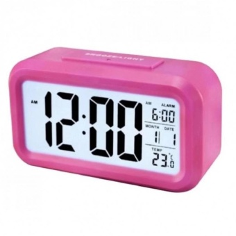 Smart Digital LCD/LED Alarm Clock Temperature Calendar Auto Night Sensor Clock - Pink