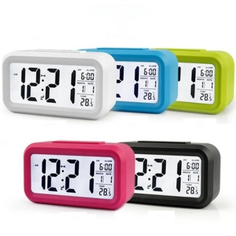 Smart Digital LCD/LED Alarm Clock Temperature Calendar Auto Night Sensor Clock - Random Colour