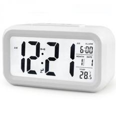 Smart Digital LCD/LED Alarm Clock Temperature Calendar Auto Night Sensor Clock - White