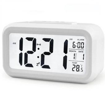 Smart Digital LCD/LED Alarm Clock Temperature Calendar Auto Night Sensor Clock - White
