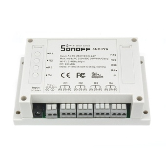Sonoff 4CH Pro - 4 Gang Inching/Self-Locking/Interlock WiFi RFSmart Switch For DIY Smart Home - intl