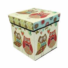 Storage Box Owl - Kotak Serbaguna Sekaligus Bangku 31x31x31cm