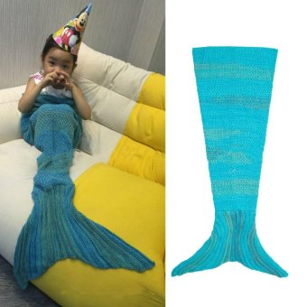 Super Soft Hand Crocheted Mermaid Tail Blanket Sofa Blanket Kids Sleeping Bags