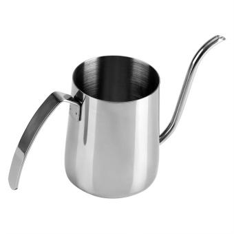 teko berbahan besi tahan karat dengan leher panjang untuk menuang kopi secara perlahan - Perak