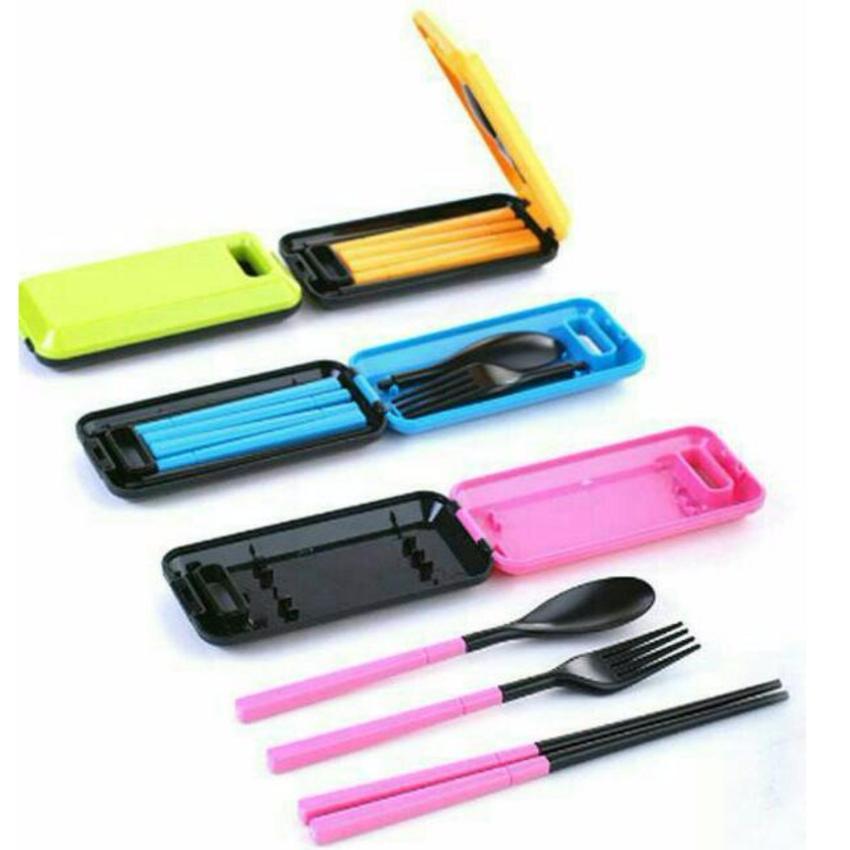 Biru Online Source · Travel Box Of Cutlery Set Alat Makan Portable Sendok .