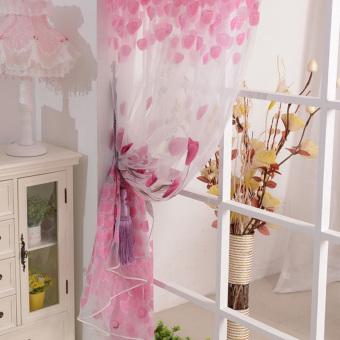 ... Tulip Cetak Kain Tule Kain Pual Tirai Gorden Tipis Jendela Pintu Panel 200 cm X 100 ...