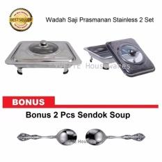 Wadah Saji Prasmanan Stainless 2 Set - Bonus 2 pcs Sendok Soup
