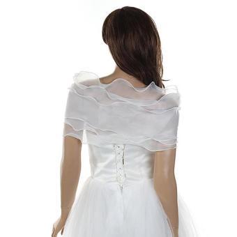 Women Wedding Bridal Shawl Wrap Cape Shrug Coat Bolero Lace FlowerCream - 5