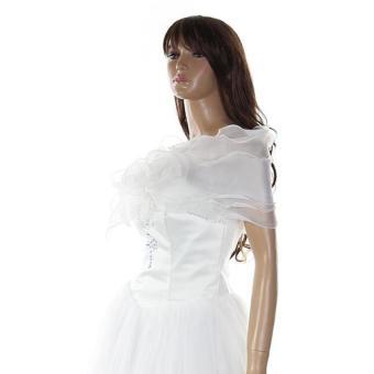 Women Wedding Bridal Shawl Wrap Cape Shrug Coat Bolero Lace FlowerCream - 3