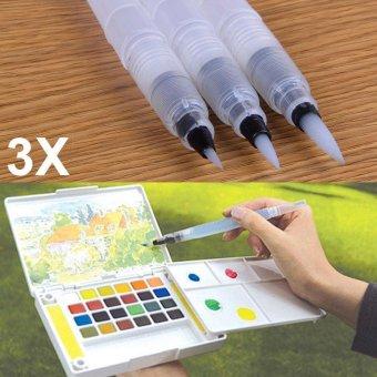 YBC 3 Pcs Refillable tinta warna pena air Brush Lukisan Pen Office Stationery (S+ M
