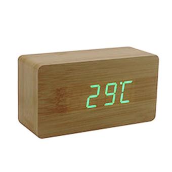 harga YBC LED Meja Kantor Jam Alarm Kayu (Bambu Bawah + Hijau Kata) Lazada.co.id