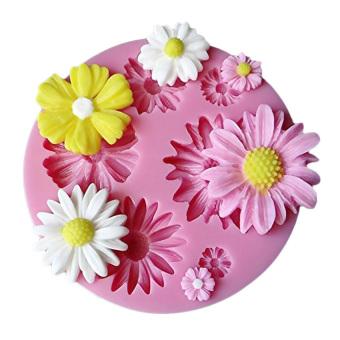 Yika Silicone 3D Bunga Cetakan Kue Bulat Dibetulkan (Berwarna MerahMuda)