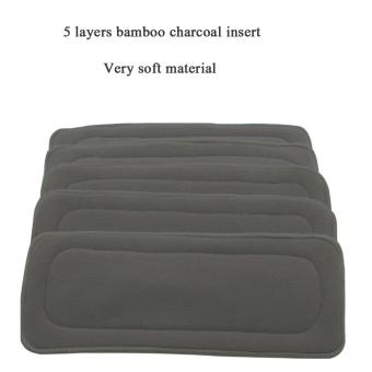 1 buah dapat digunakan kembali 5 lapisan bambu Arang sisipkan kain Popok Bayi .