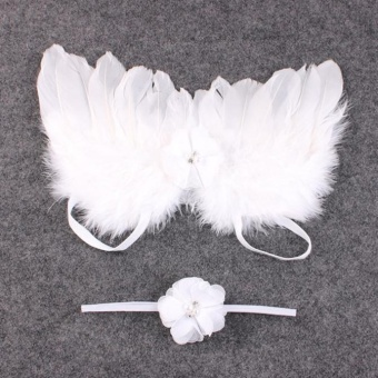 2pcs Baby Angel Feather Wings Wing Set Feather Butterfly WingsPhoto Prop Girls Hair Accessories - intl