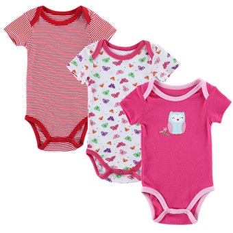 3 Pieces/set Baby Romper Girl and Boy Short Sleeve Summer Clothing Set for Newborn Next Jumpsuits & Rompers (Multicolor) - intl