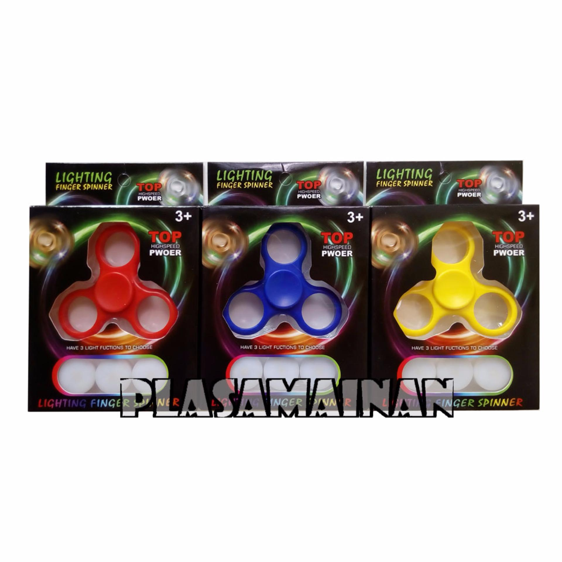 Aa Toys Led Lighting Finger Spinner Biru Hand Daftar Wanky Fidget Mainan Edukasi Anak Kuning