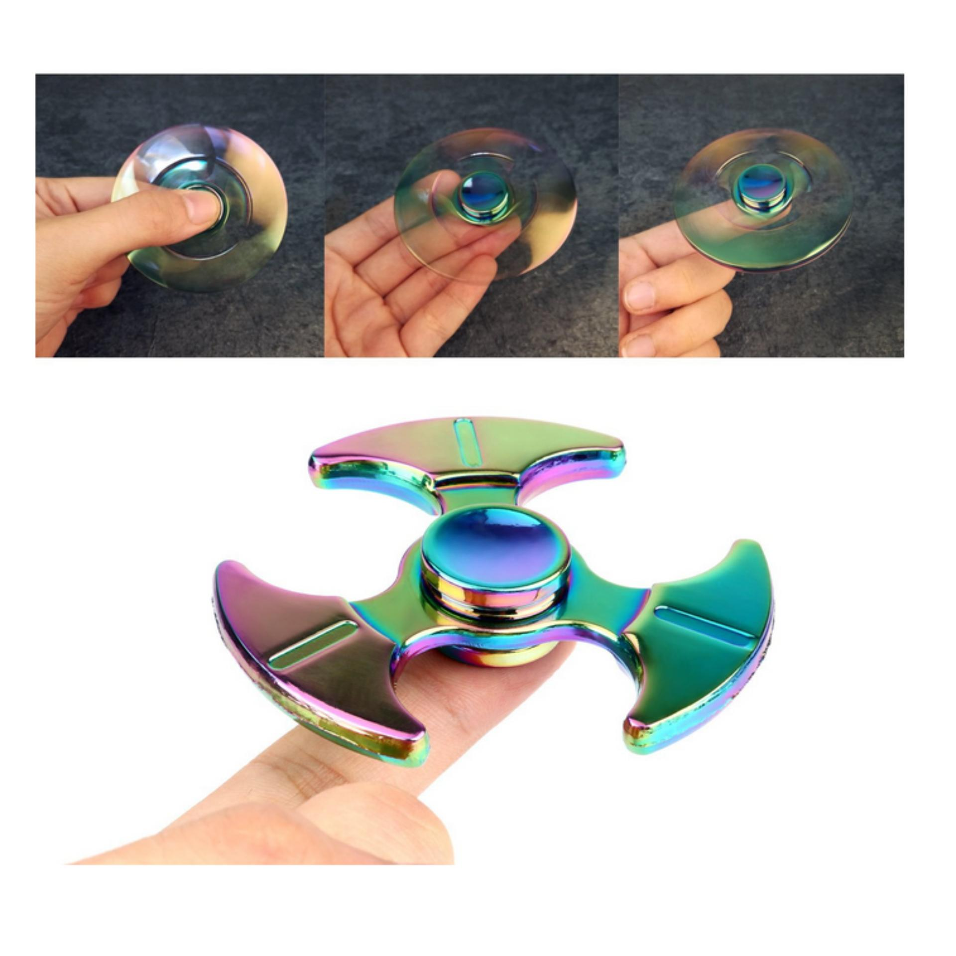 Askey Fidget Spinner Hand Premium Iridescent Rainbow Series Mainan 3 Circle Arms Star Limited Edition Anti