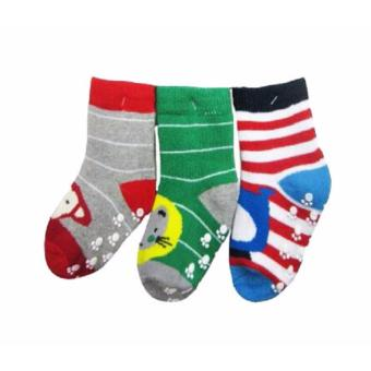 Baby Grow Socks Bear Stripe 3in1 Packs Girls - Set Kaos Kaki Bayi Isi 3 Pasang