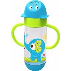 Baby Safe AP004 Wide Neck Feeding Bottle With Handle 250ml Blue Botol Susu Anak Biru Gajah Elephant BabySafe