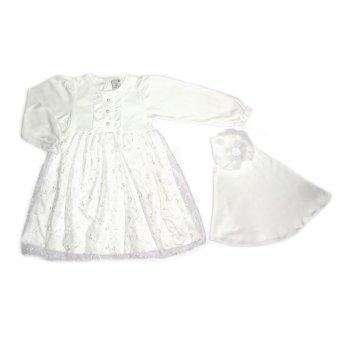BabyTalk Gamis Brukat Mutiara Dress Setelan Muslim Anak - Putih