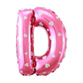 Balon Foil Huruf D - Pink Motif Love · >>>>