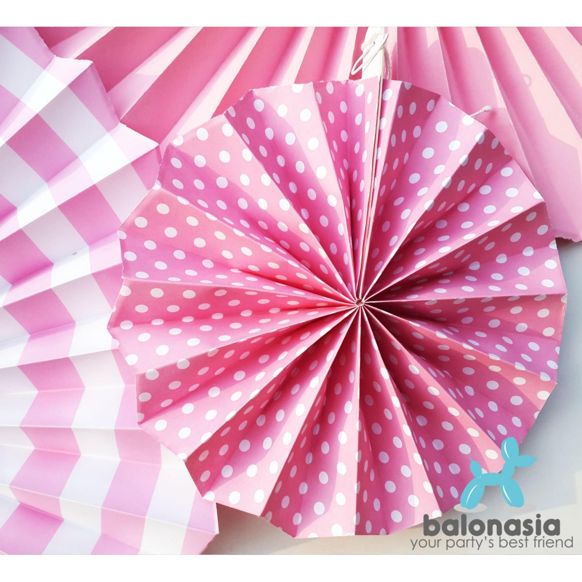 Balonasia 6 Pcs Lot Bunga Kertas Fan Tissue Kerajinan Dekorasi Backdrop Set Ulang Tahun Garis Polkadot Dekorasipernikahan Pesta Home