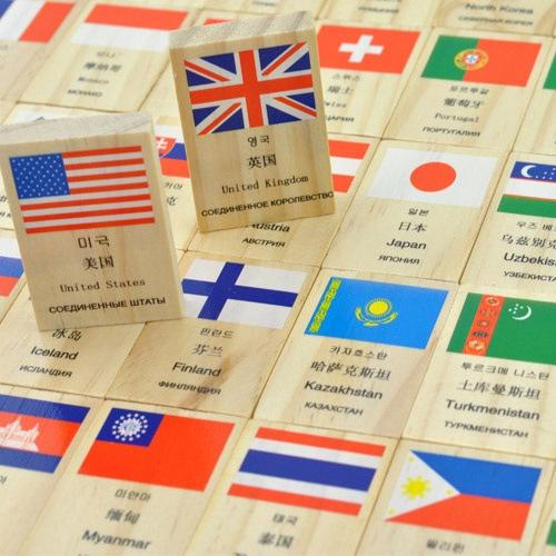 Baobao anak kayu domino bendera kartu kartu melek huruf