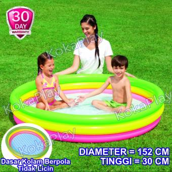 Bestway Intex Rainbow Inflatable Pool 3 Colors Pelampung Kolam Renang Anak Pelangi 3 Tingkat Diameter 152CM