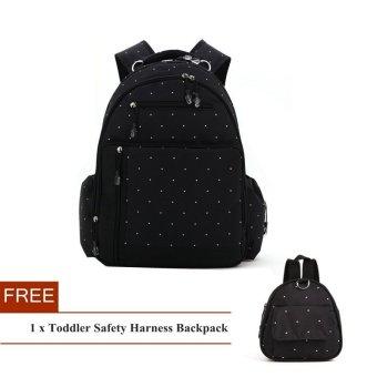 Bintik-bintik kapasitas besar mumi popok bayi tas ransel + Gratissabuk pengaman balita ransel (Hitam)
