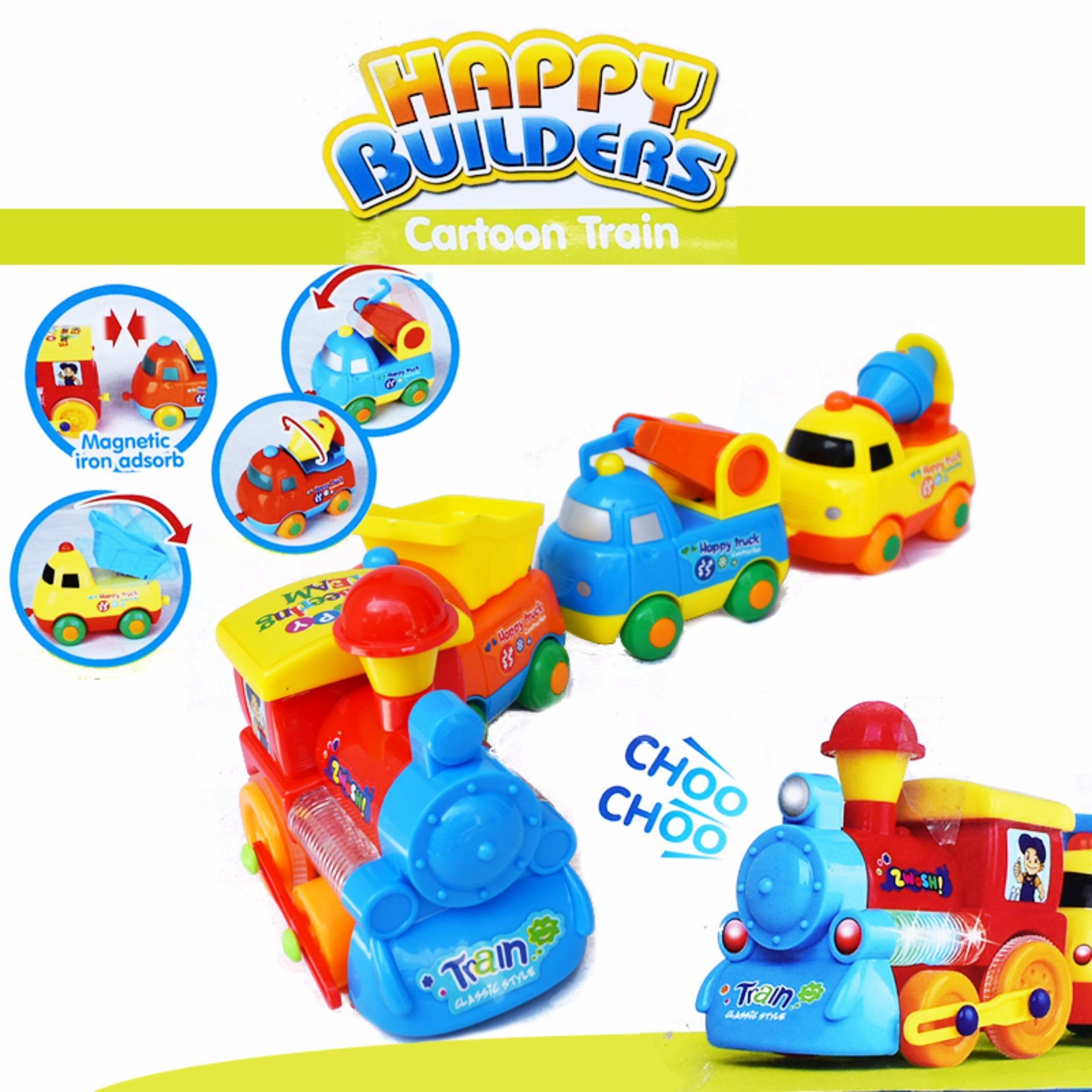 ... Cartoon Train Happy Builder 19052A mainan anak kereta api magnetB/O ...