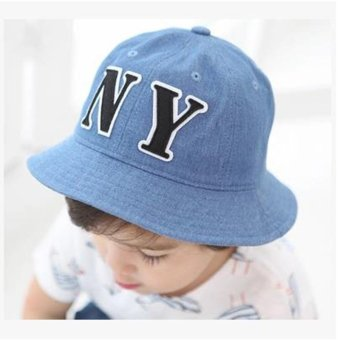 Children Boys Sun Hats Spring Summer Caps Cotton Bucket Hat BabyKids Boy Crown Cap New Fashion0-1-2year old --Blue NY (Intl)