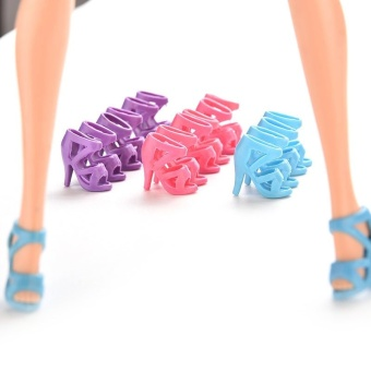Colorful High Heel Shoes For Barbie 10pairs - intl