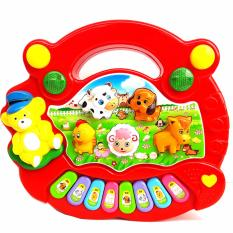 Eigia Animal Music Piano Mainan Balita Anak Belajar Suara Musik Lagu Farm Binatang Tangga Nada Tuts - Red