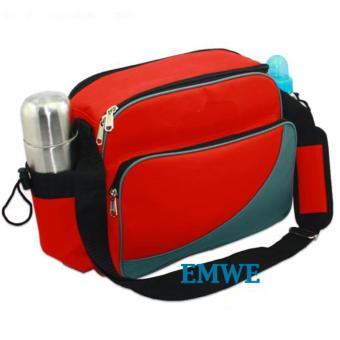 EMWE Baby Bag Mini tas slempang perlengkapan makan botol susu bayi Tas selempang Tempat Makan Bekal Anak Lunch Baby Box Bag 2in1 - RED - 2