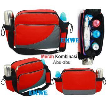 EMWE Baby Bag Mini tas slempang perlengkapan makan botol susu bayi Tas selempang Tempat Makan Bekal Anak Lunch Baby Box Bag 2in1 - RED - 4