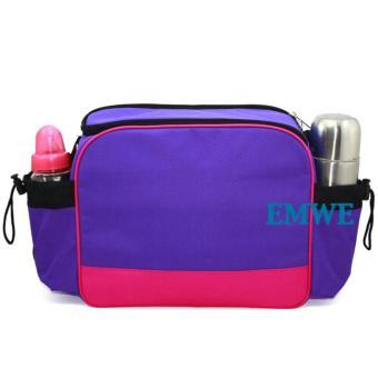 EMWE Baby Bag Mini tas slempang perlengkapan makan botol susu bayi Tas selempang Tempat Makan Bekal Anak Lunch Baby Box Bag 2in1 - Ungu - 3