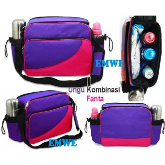 EMWE Baby Bag Mini tas slempang perlengkapan makan botol susu bayi Tas selempang Tempat Makan Bekal Anak Lunch Baby Box Bag 2in1 - Ungu - 4