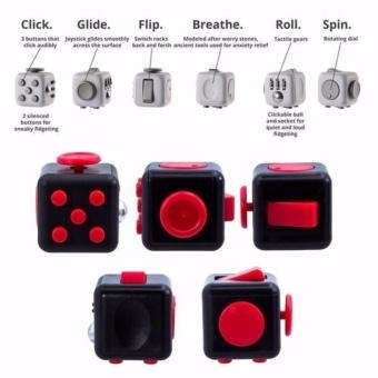 Gambar Fidget Cube Mainan Dadu Hitam Merah Babamu