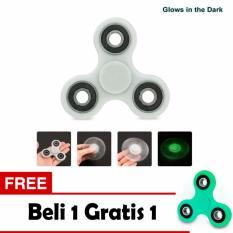 Fidget Spinner Glow in The Dark Hand Toys Mainan  - White + Free 1 Pcs
