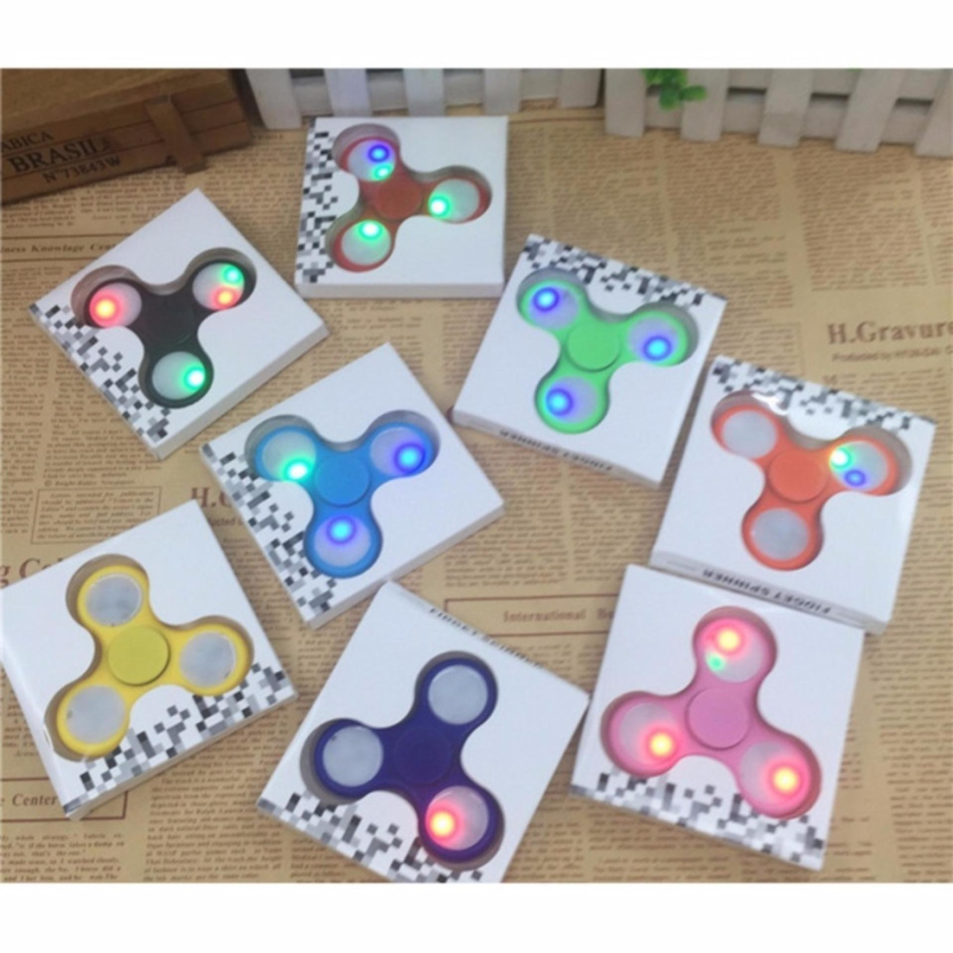 Fidget Spinner LED Light Colours Hand Finger Toys - Mainan Jari Tangan Putar .