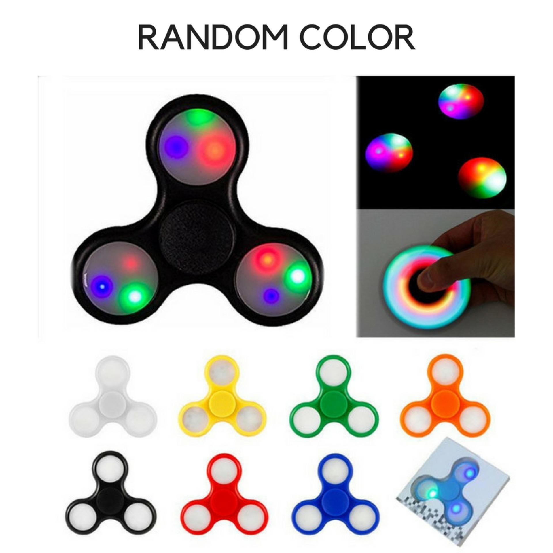 Fidget Spinner Led Light Hand Toys Mainan Jari Tri Edc Ball Aimons With Focus Games Tangan Random Colour Game