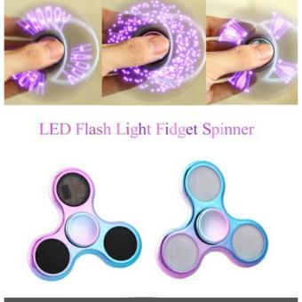 Fidget Spinner LED Metalic Chrome Rainbow Variasi Lampu Tulisan