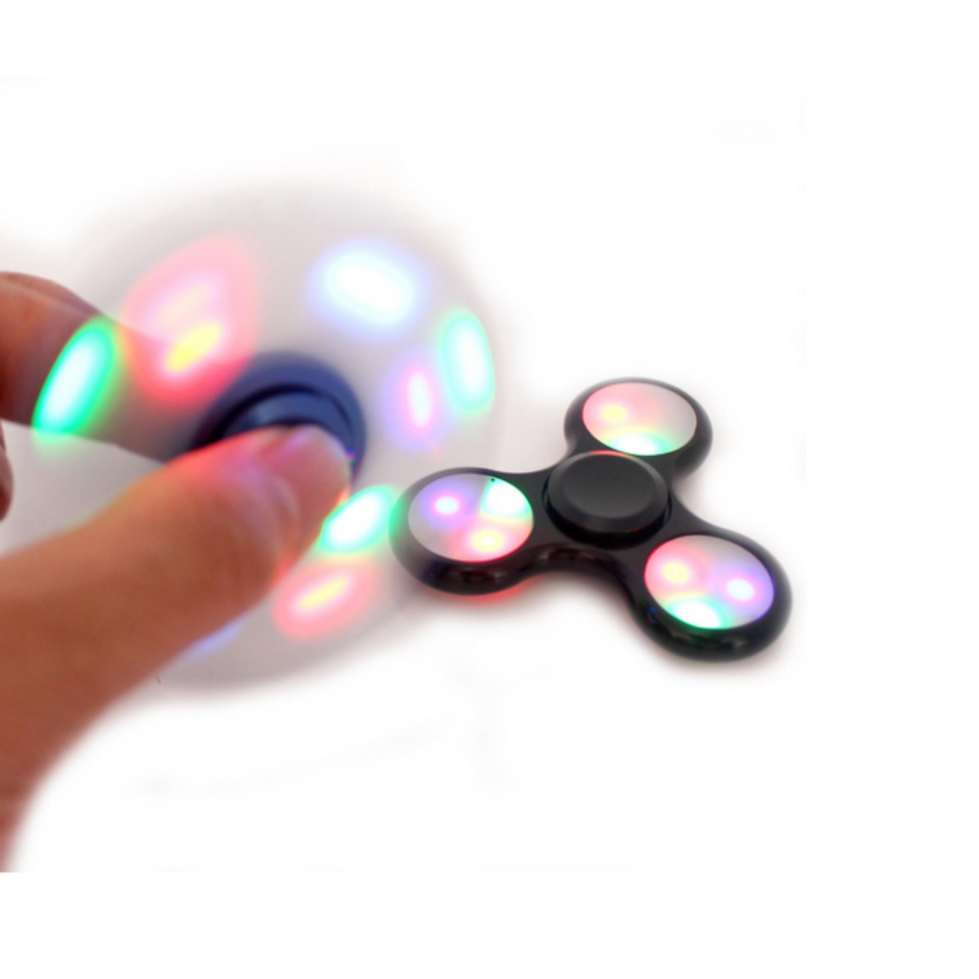 Fidget Spinner WIth LED Hand Toys Focus Games / Mainan Spinner Tangan Penghilang Kebiasan Buruk .