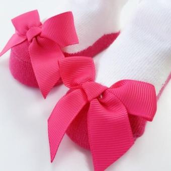 Gadis kaus kaki stocking busur-diikat bayi yang indah putri - Pink - 3