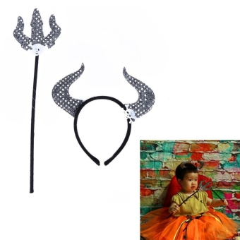 Halloween Head Horned Cow Fork Two Sets of Hair Accessories Hoop Magic Bar(Silver) - intl