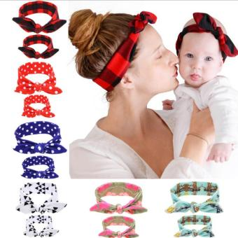 Harga Bear Fashion 2pcs for Mother and Baby Head Wrap Hair Band Headwear For Toddler Infant Newborn Headband - intl