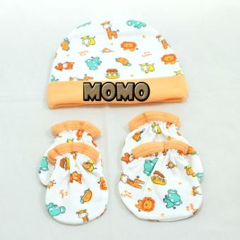 Harga MOMO Baby Topi Set Plus Sarung Tangan Kaki Mamimu Motif Animal Orange - Topi Set Bayi