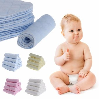 Harga 10Pcs Reusable Baby Cotton Blend Cloth Diaper Newborn Soft Nappy Insert 3 Layers(White) - intl