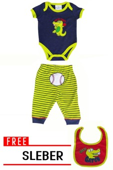 Harga QuincyLabel Baby Jumper Great Catch - Green + Set Free Sleber - F807