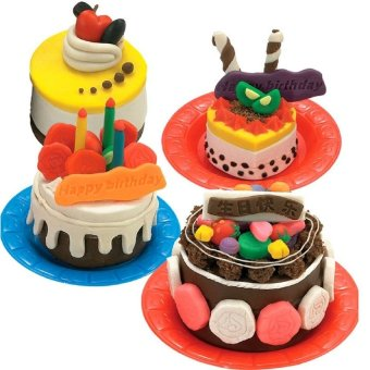Harga MEGA Kids Gift Play Dough Mold Set Happy Birthday Cake Mode Soft Clay Plasticine Toys